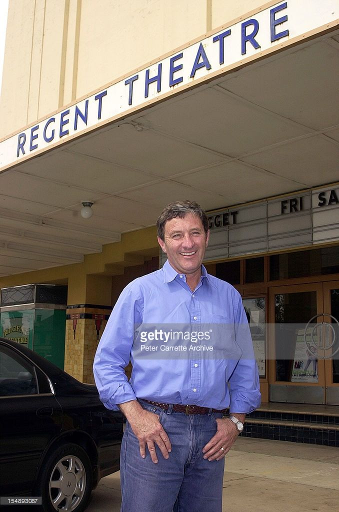 Australian television sports presenter Ken Sutcliffe outside the Regent Theatre during a visit to his home town on October 25, 2002 in Mudgee, Australia.