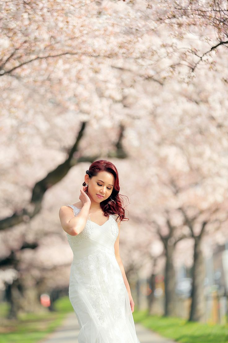 springtime cherry blossom bridal shoot paris