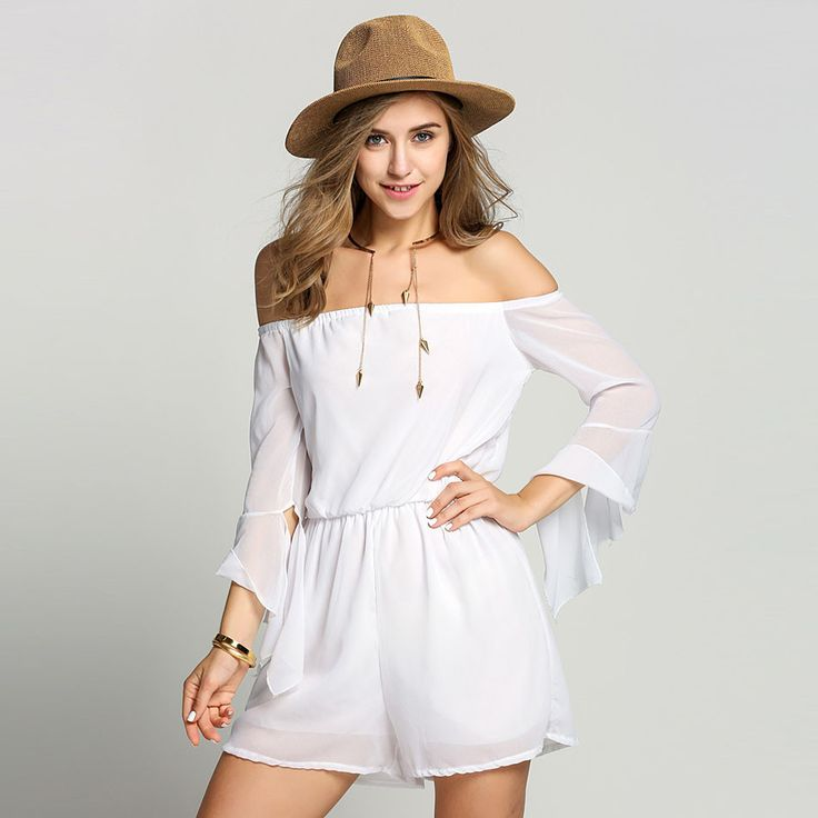 Woman Romper Shorts Playsuit FANALA Brand Women Summer Bohemian White elegant jumpsuits pants Off shoulder Long Sleeve