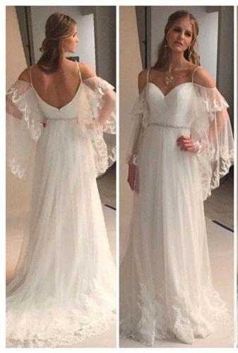 2016 Summer Beach Wedding Dresses Spaghettis Straps Off