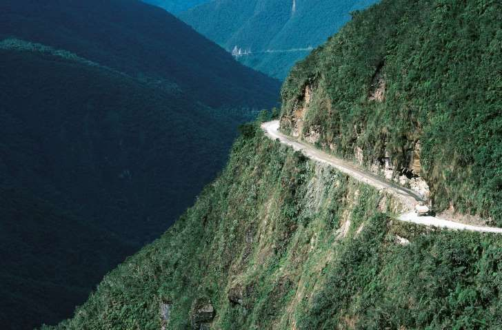 BOLIVIA - MAY 05: The North Yungas Road leading from La Paz to Coroico, Yungas Region, Bolivia. (Photo by DeAgostini/Getty Images)