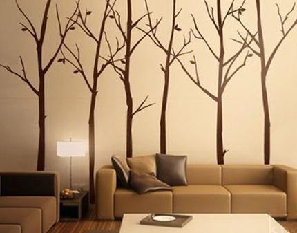 Muro decorado con arbolitos decoracion pinterest - Decoracion muros interiores ...