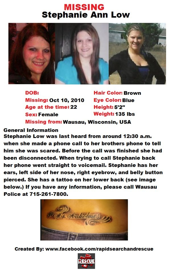 """Current Missing Person flyers from Wisconsin in the 2010s To assist with Amber Alerts and missing person cases through flyer and picture sharing on Facebook please """"Like"""" Rapid Search and Rescue on Facebook: facebook.com/RapidsSAR Follow us on twitter also @Rapid_SAR"""
