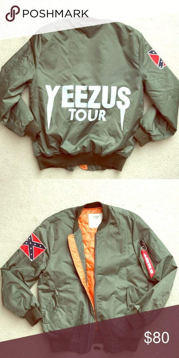 Kanye West Yeezus Merch Bomber Jacket Kanye West Yeezus Tour LIMITED EDITION bomber jacket Color: Olive green  Size:Medium Only worn one time- Excellent (like new) condition Yeezy Jackets & Coats Utility Jackets