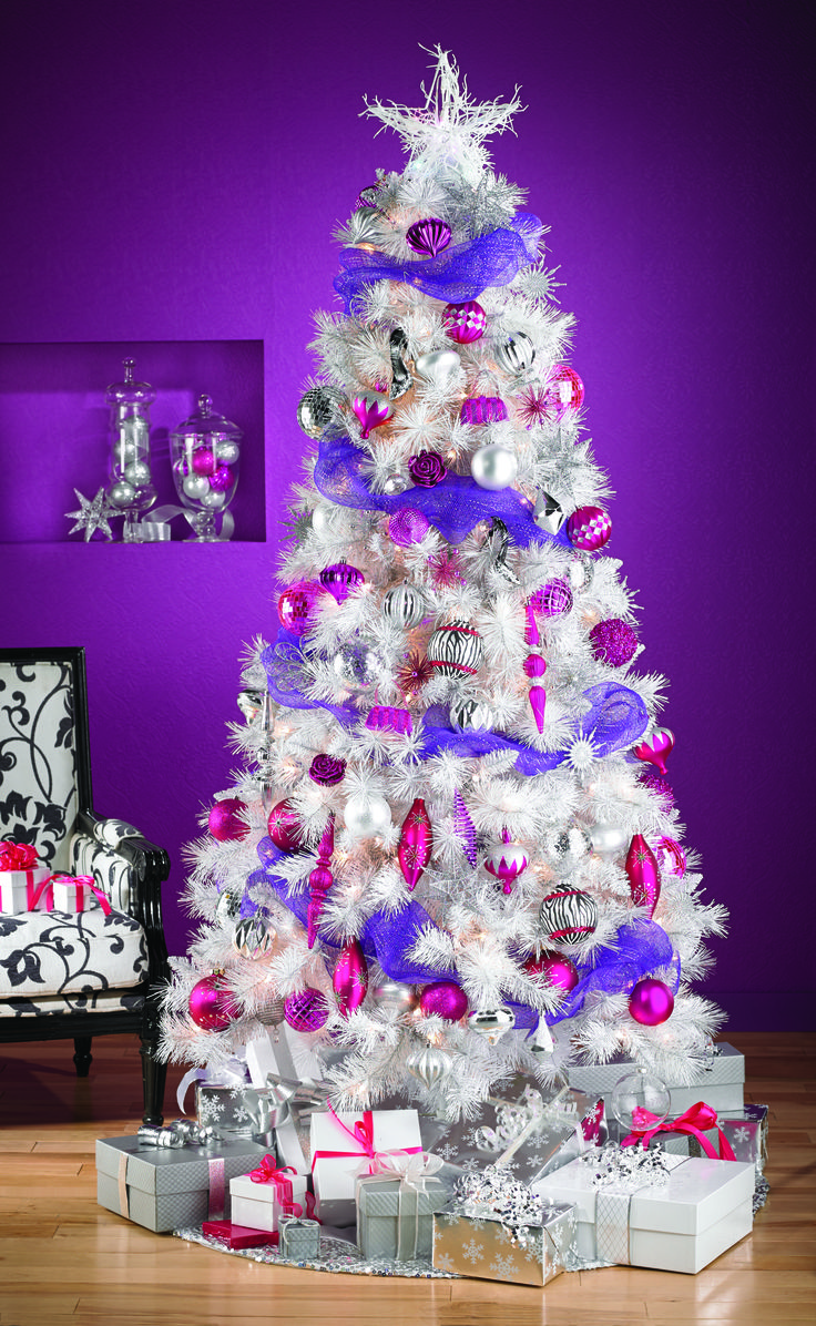 White christmas tree with purple and blue decorations - Go For The White Christmas Tree This Year Soyez Original