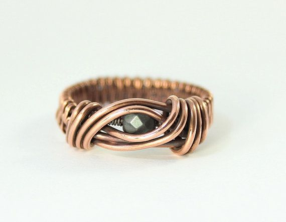 Copper Wire Wrapped Ring Hematite Jewelry by whitecloverstudios, $20.00