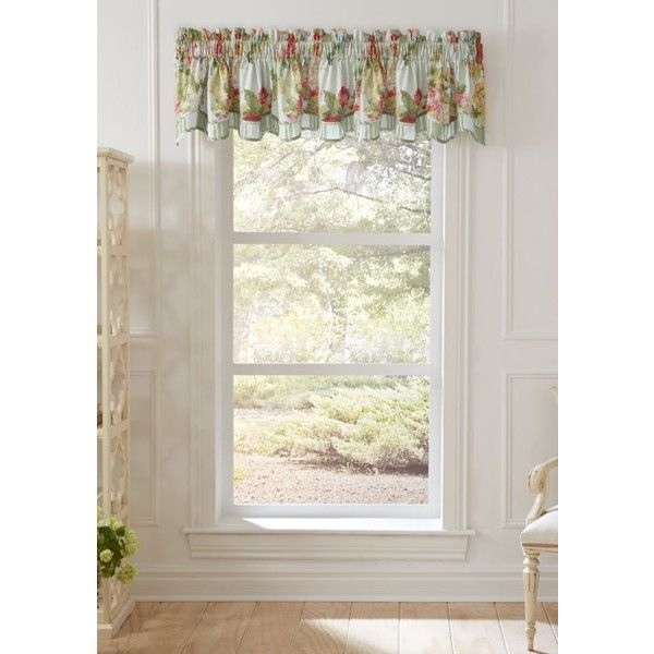 Waverly  Juliet Valance (€32) ❤ liked on Polyvore featuring home, home decor, window treatments, curtains, spring, traditional window treatments, flowered curtains, waverly drapery, floral valance and waverly curtains