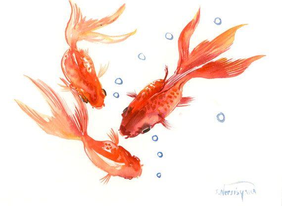 Three Goldfish,  Koi, original orange yellow watercolor Asian style painting, Zen Brush painting, 12 X 9 in