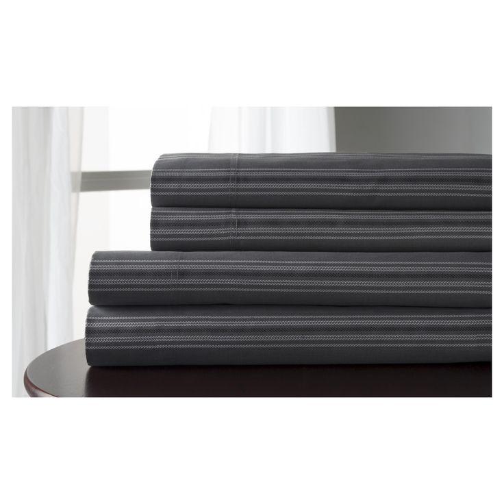 regent stripe 100 cotton print sheet set california king charcoal grey