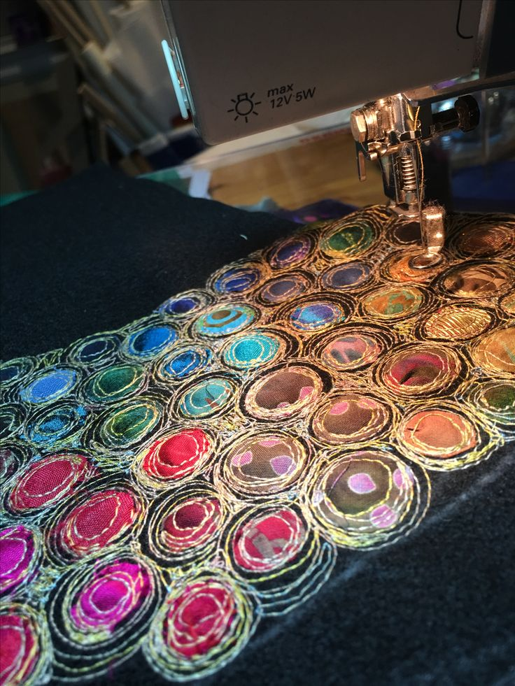 Gordana Brelih... I just love to work on a few pieces at the same time...stitching circles on the black felt...