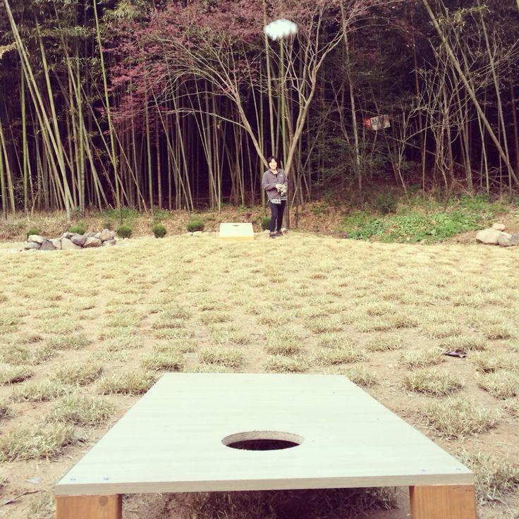 Winter cornhole session! #thedamyanghouse
