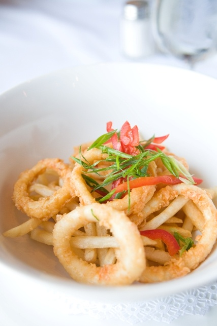 Calamari Rings and Shoestring Fries available from the Waterfront Restaurant.