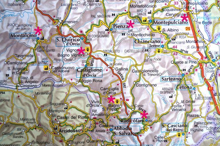Toskana Karte mit den Sehenswürdigkeiten