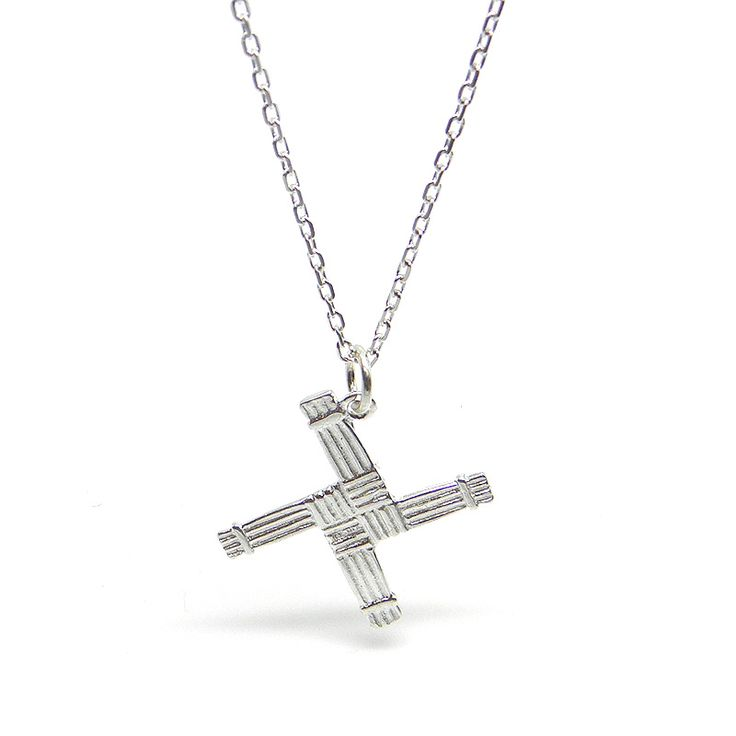 Irish made Sterling Silver Irish St Bridget Cross. It is believed that this simple rush Cross, usually placed over a door, keeps evil and hunger from the homes in which it is displayed.