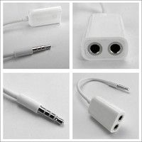 Wish | 3.5 mm a points two audio earphone  Line Divider  headphones extension (Size: 3.5 mm, Color: White)