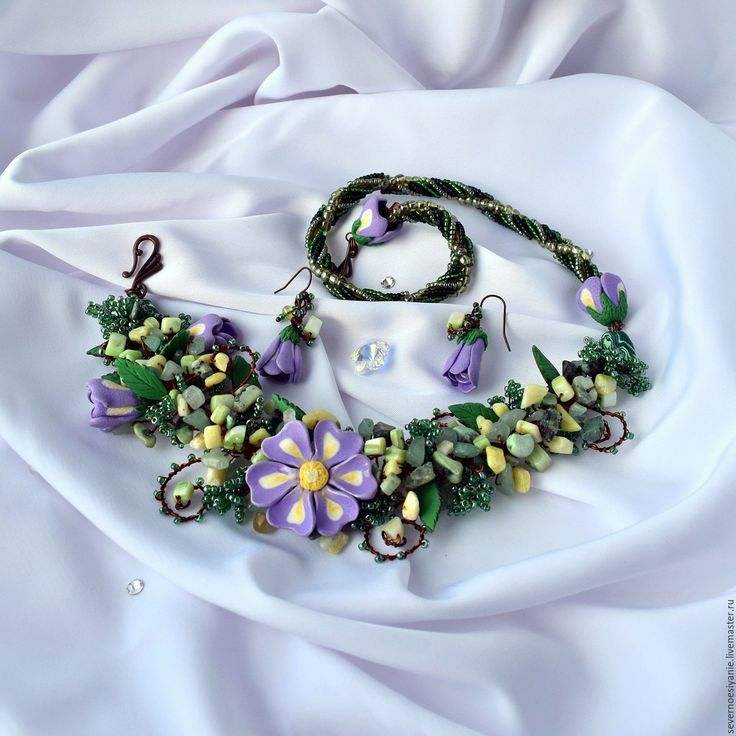Купить Комплект по мотивам Зеленая полянка - сиреневый, цветы, цветы из полимерной глины, цветочное украшение