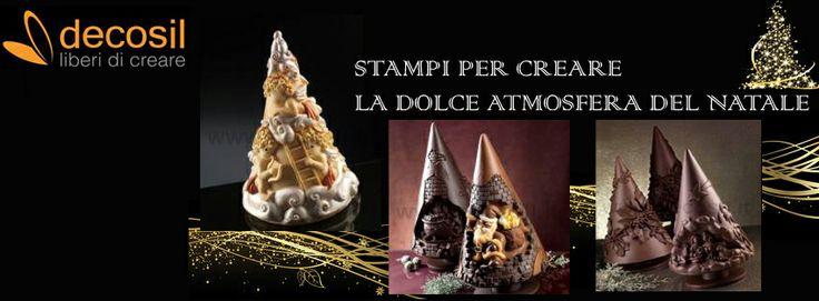 Stampi per creare la dolce atmosfera del Natale. Pini in cioccolato tridimensionali. www.decosil.it