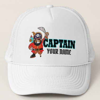 #name - #Personalized Captain Pirate Boat Hat