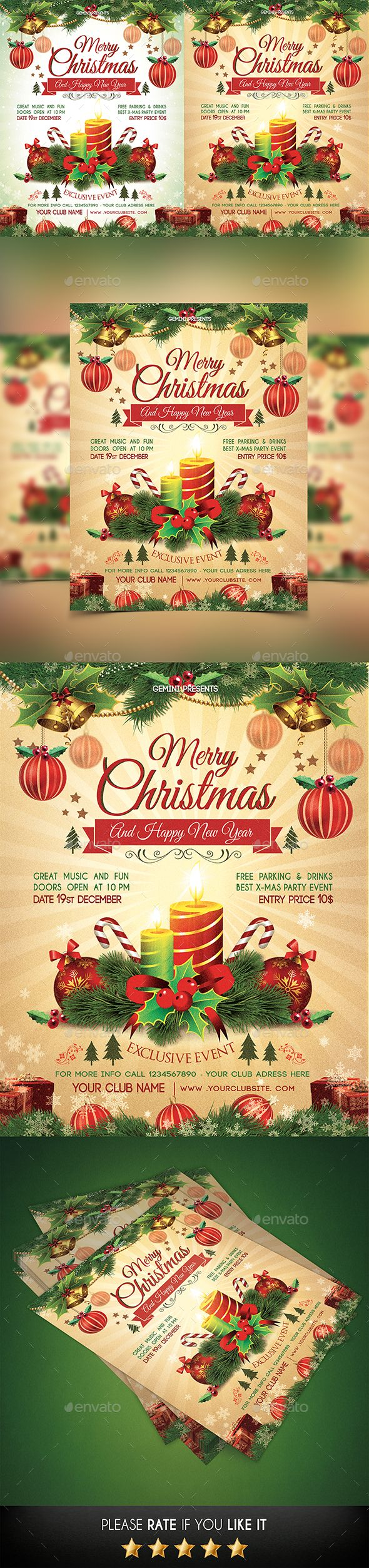 Christmas Party #Flyer - #Holidays Events #Christmas #NewYears #Winter #Graphics #Design