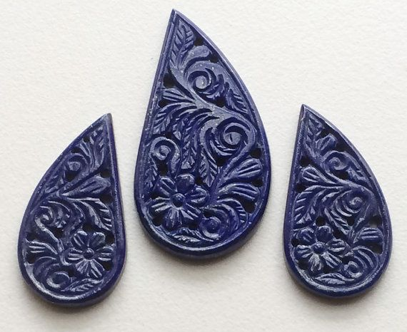 Lapis Lazuli Filigree Hand Carved 3 Pc Set by gemsforjewels