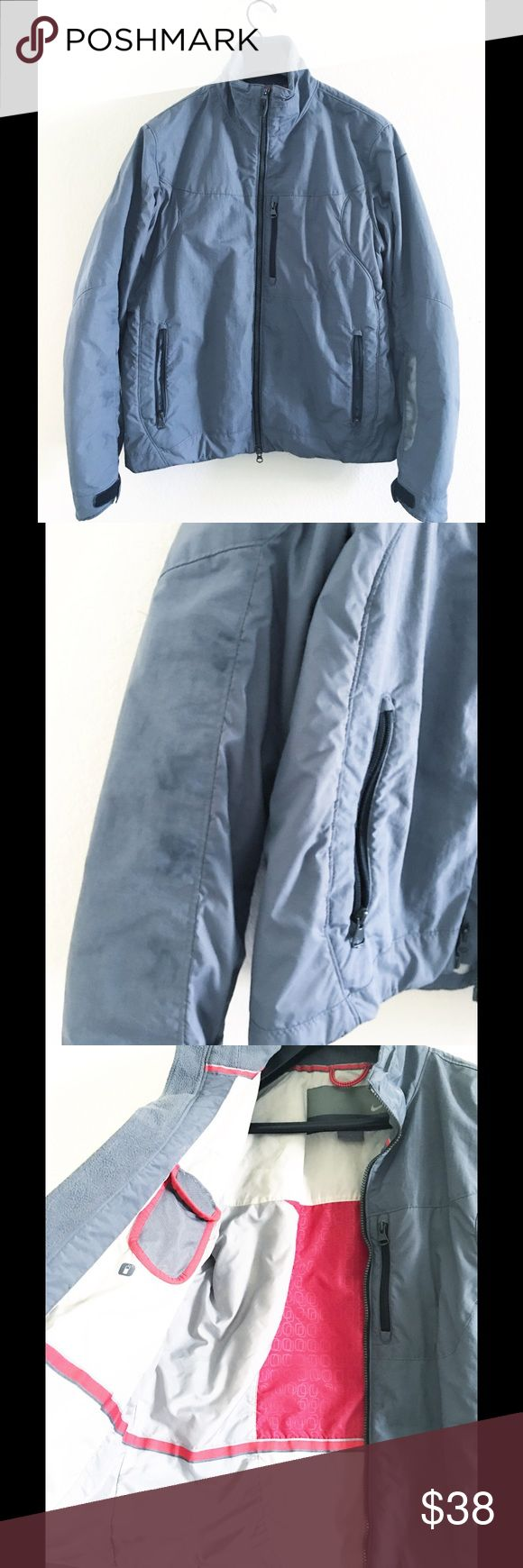 Nike Waterproof Jacket szM Men's VGUC, dark spots on arm as shown, blends in when worn. Great utility jacket with lots of pockets. Thick windbreaker type material exterior. Nike Jackets & Coats Performance Jackets