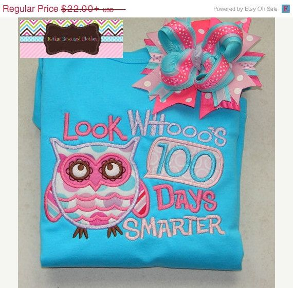 ON SALE Look Whoo's 100 Days Smarter Applique Shirt and Matching Hairbow - 100 Days of School - Owl - School on Etsy, $17.60