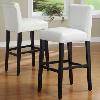 INSPIRE Q Bennett White Faux Leather 24-inch Counter Height Stools (Set of 2) | Overstock.com Shopping - The Best Deals on Bar Stools
