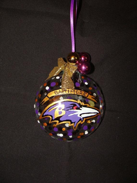 Baltimore Ravens Ornament by GlassWorksByPaula on Etsy, $10.00