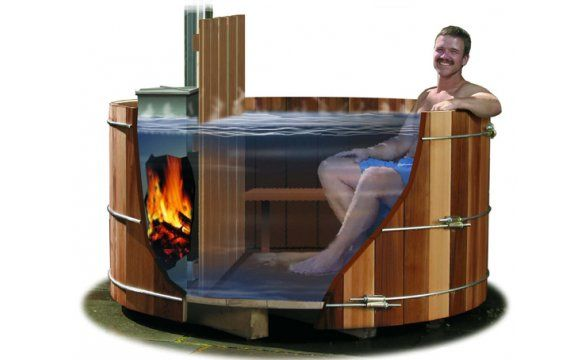 Wood fire hot tube cabin in the woods pinterest for Wood burning spa