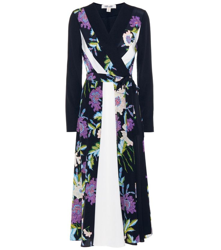 Diane von Furstenberg - Penelope printed silk dress - Diane von Furstenberg's iconic wrap dress takes on a pyjama-inspired twist this season thanks to lightweight silk fabrication and robe-inspired detailing. Tying at the waist for a skin-revealing V-cut, the Penelope style features an exotic floral print. Vertical white stripes help create a long and lean effect – continue the optic by opting for nude-hued, elevating pumps. seen @ www.mytheresa.com