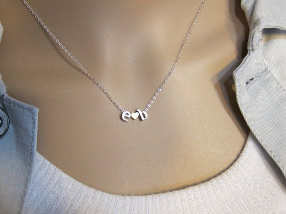 Two initial Necklace, Boyfriend Girlfriend, His and Her ...