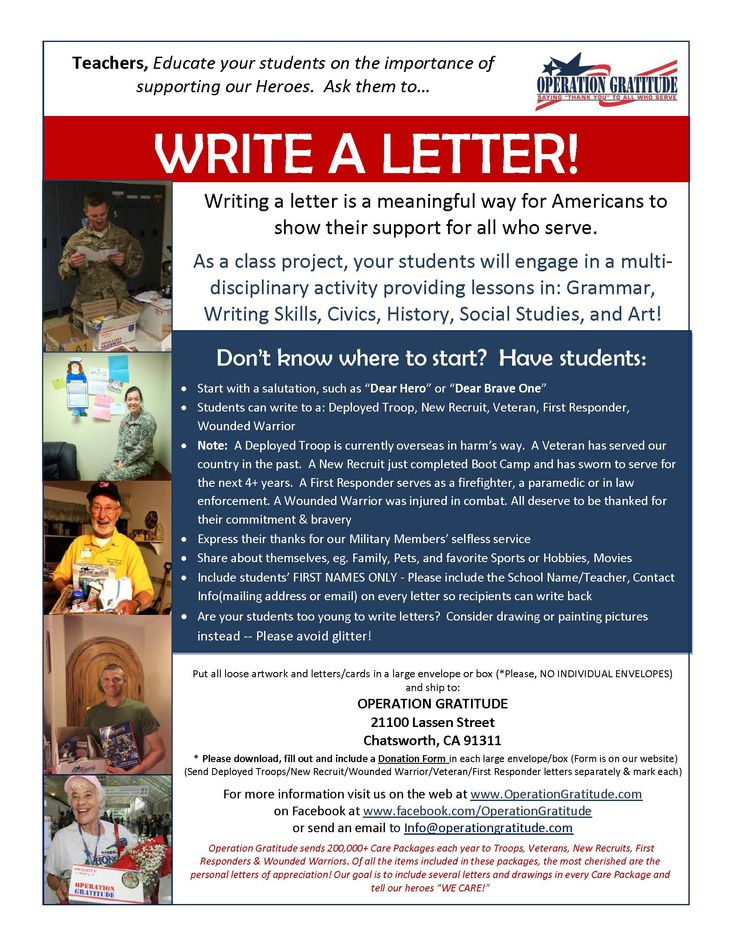 students of all ages can write letters of thanks and support to deployed troops and us