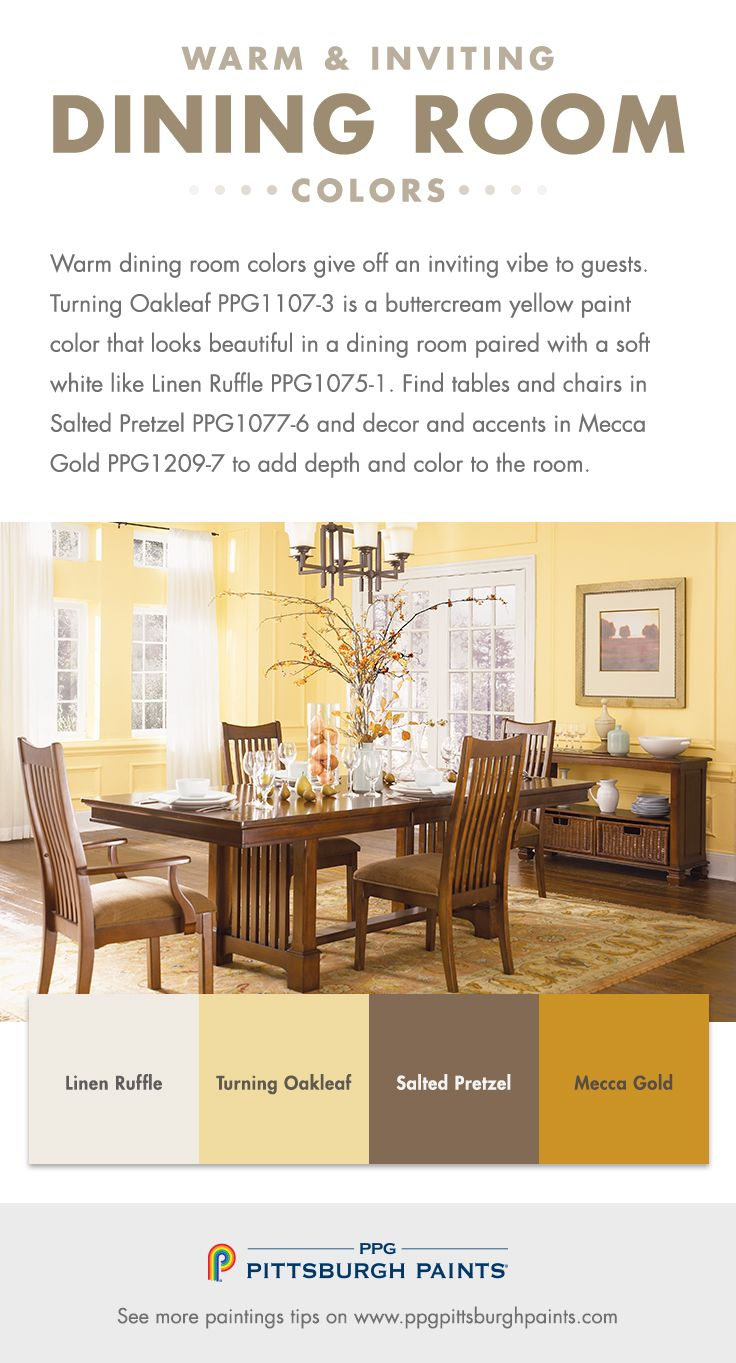 Paint Colors to Create a Warm & Inviting Living Room - Warm dining room colors give off an inviting vibe to guests. Turning Oakleaf is a buttercream yellow paint color that looks beautiful in a dining room paired with a soft white like Linen Ruffle.