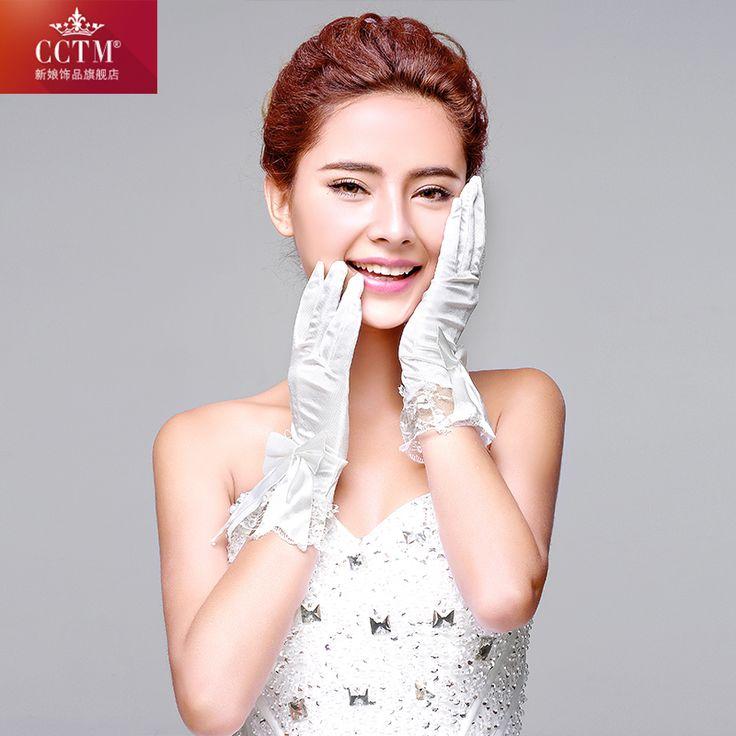 Белое свадебное перчатки для невесты сатин и кружевные перчатки палец наручные длина 2015 новое поступление дешевые