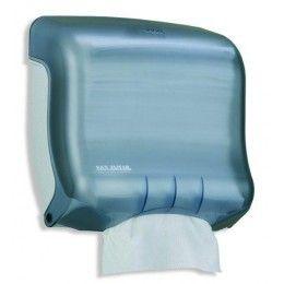 Dispensador toalla plegada C y Z, forma horizontal. Disponible en dos colores diferentes: blanco y azul ártico.