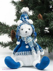"""Медвежонок белый """"Арктика"""" сидящий, 41 см, Holiday Classics на маркете Vse42.ru."""