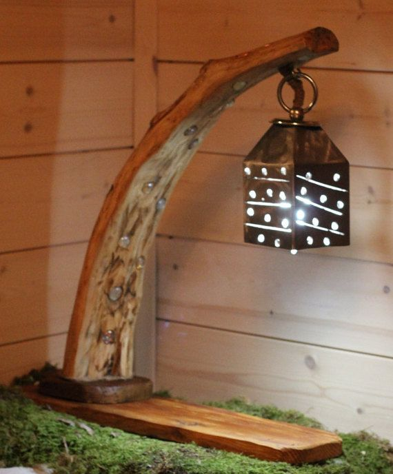 lampada grande legno mare driftwood lamp ferro wood di GnomoWood