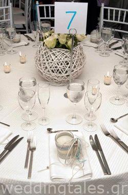 Υπέροχη κεντρική διακόσμηση γάμου - με μεγάλο πλεκτό λευκό καλάθι Δημιουργίες Όνειρο | Οργάνωση & Διακόσμηση γάμου