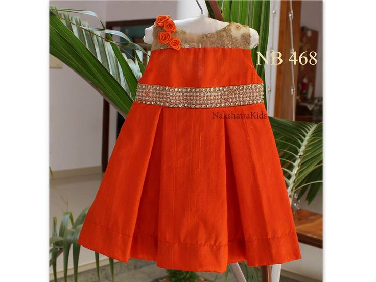 Size: New born baby to 5 yrs. starting Price Rs.1480/- Color : Orange(Rose Silk)  Available Colors : Red/Orange/Lotus Pink/Pink/Ivory  Beautiful party wear frocks for little ones, To order, pls WhatsApp on +91 94929 91857