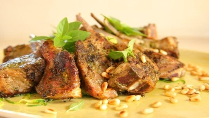 Photo of Pesto Stuffed Lamb Chops with Courgette Pasta