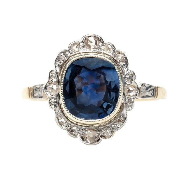 anillo de compromiso de zafiro de Edwardian del vintage