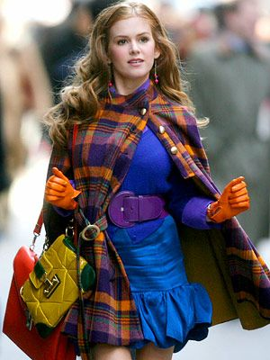 Love this outfit from Confessions of a Shopaholic. I looked for this cape for ages!
