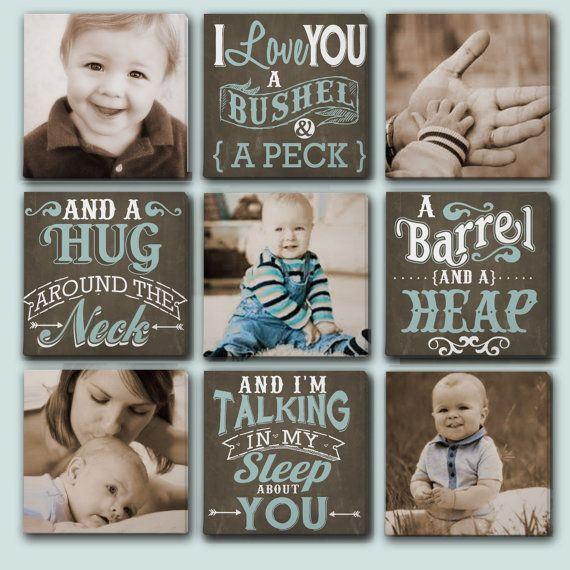 Custom Canvas Collage for Nursery! Typography with Photos and quote I Love You A Bushel and a Peck