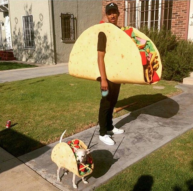 Pin for Later: 20 Costumes to Get Your Junk Food Fix This Halloween Taco Bonus points if you match with your dog.