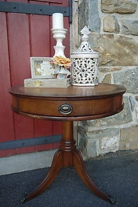 Antique Leather Top Foyer Drum Table With Drawer Pedestal Claw Foot Three  Legs   EBay