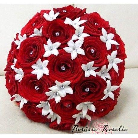 Buchet trandafiri si Stephanotis