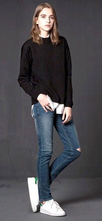 기본 3cm이상의 신축성을 가지고 있는 프리미엄 스판덱스 슬림핏 데님 모델 174cm, 50kg, 28 size (Boy fit)