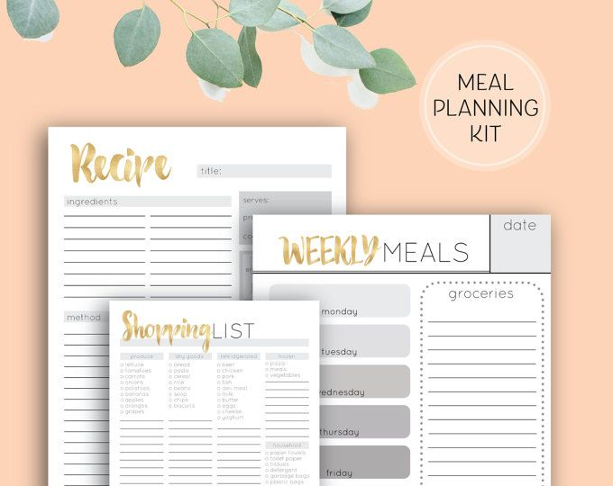 Printable Meal Planning Kit, Recipe Cards, Meal Planner and Shopping List in A4, A5 and DL sizes digital download