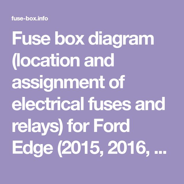 Fuse box diagram (location and assignment of electrical ...