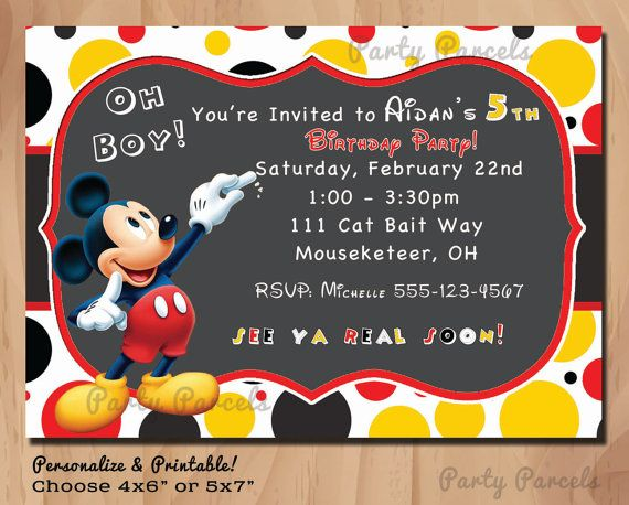 Mickey Mouse - Personalized Birthday Invitation - Chalkboard Style - Printable Digital File